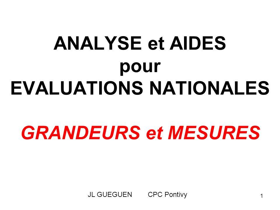 ANALYSE et AIDES pour EVALUATIONS NATIONALES GRANDEURS et MESURES