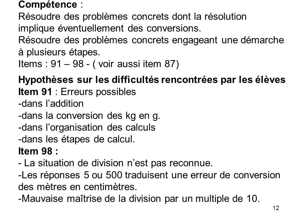 Compétence : Résoudre des problèmes concrets dont la résolution implique éventuellement des conversions.