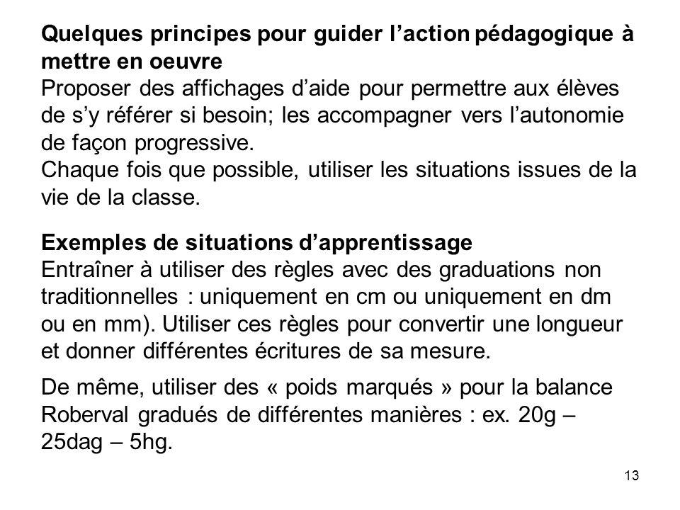 Quelques principes pour guider l'action pédagogique à mettre en oeuvre Proposer des affichages d'aide pour permettre aux élèves de s'y référer si besoin; les accompagner vers l'autonomie de façon progressive.
