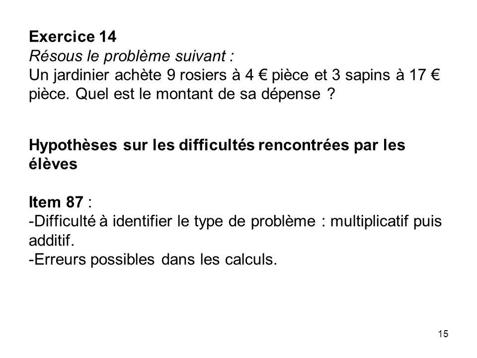 Exercice 14 Résous le problème suivant : Un jardinier achète 9 rosiers à 4 € pièce et 3 sapins à 17 € pièce.