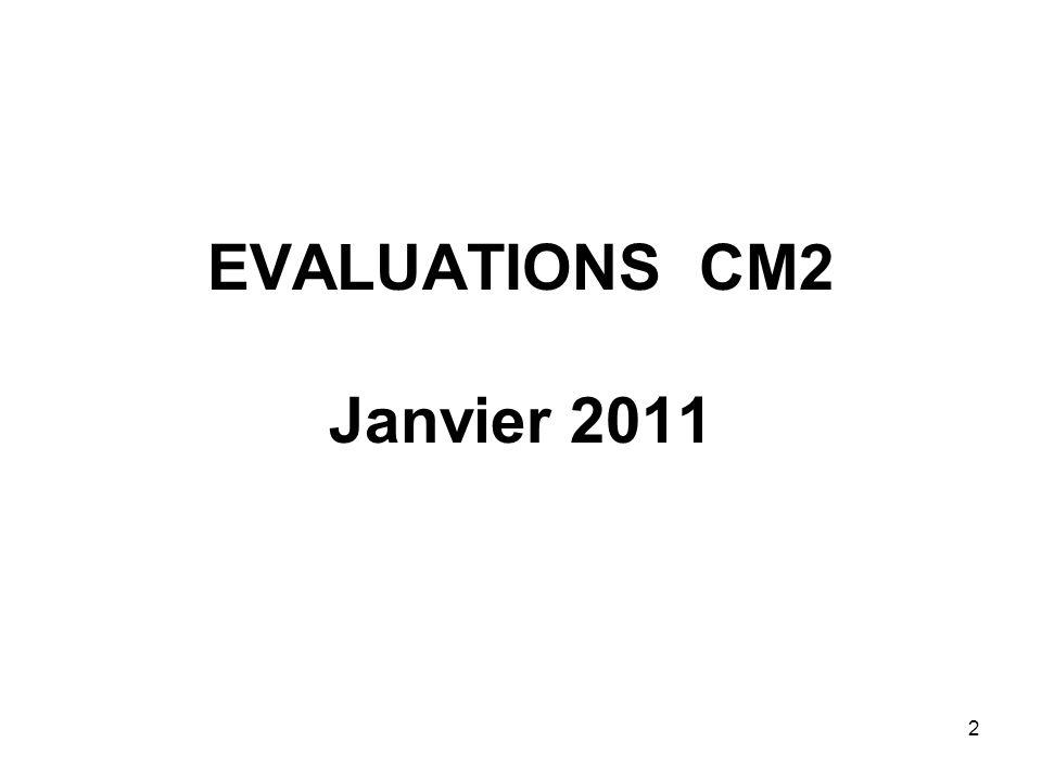 EVALUATIONS CM2 Janvier 2011