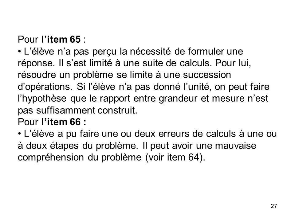 Pour l'item 65 : • L'élève n'a pas perçu la nécessité de formuler une réponse.