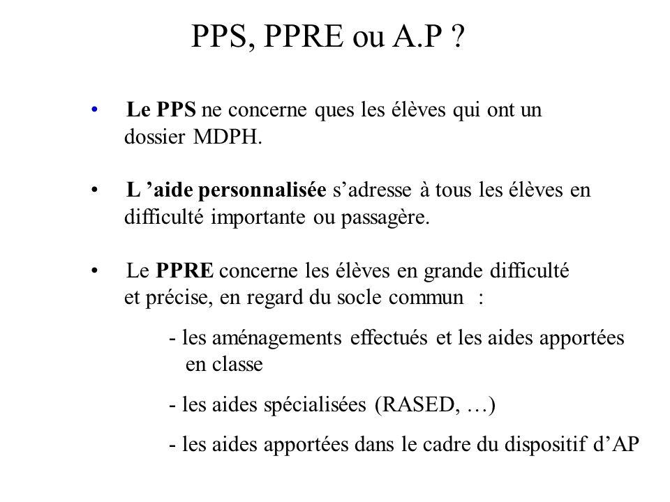 PPS, PPRE ou A.P Le PPS ne concerne ques les élèves qui ont un