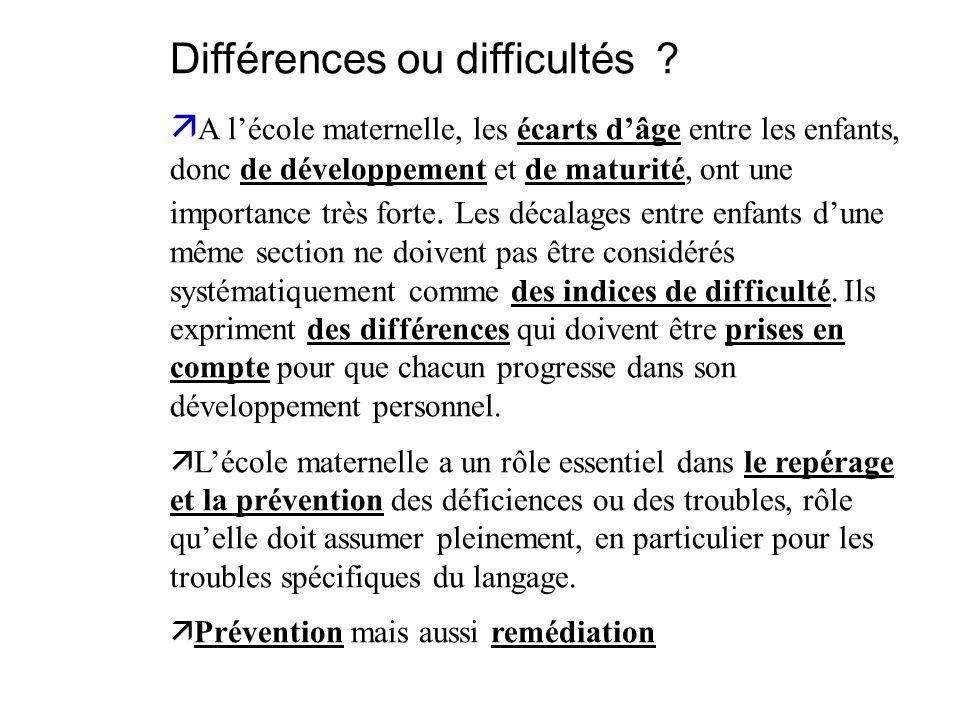 Différences ou difficultés