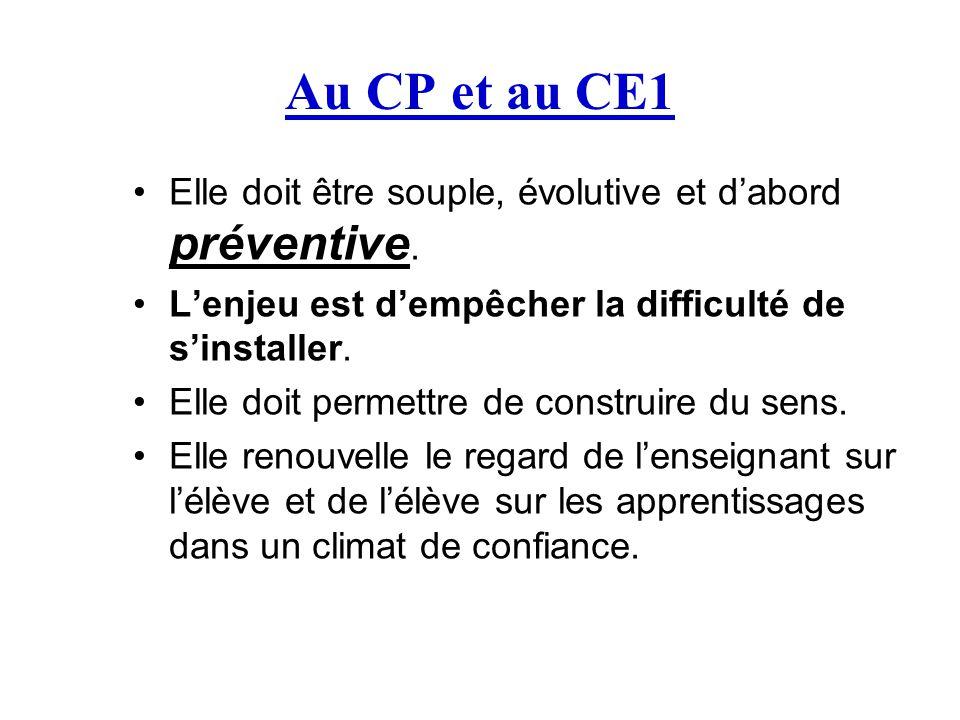 Au CP et au CE1 Elle doit être souple, évolutive et d'abord préventive. L'enjeu est d'empêcher la difficulté de s'installer.