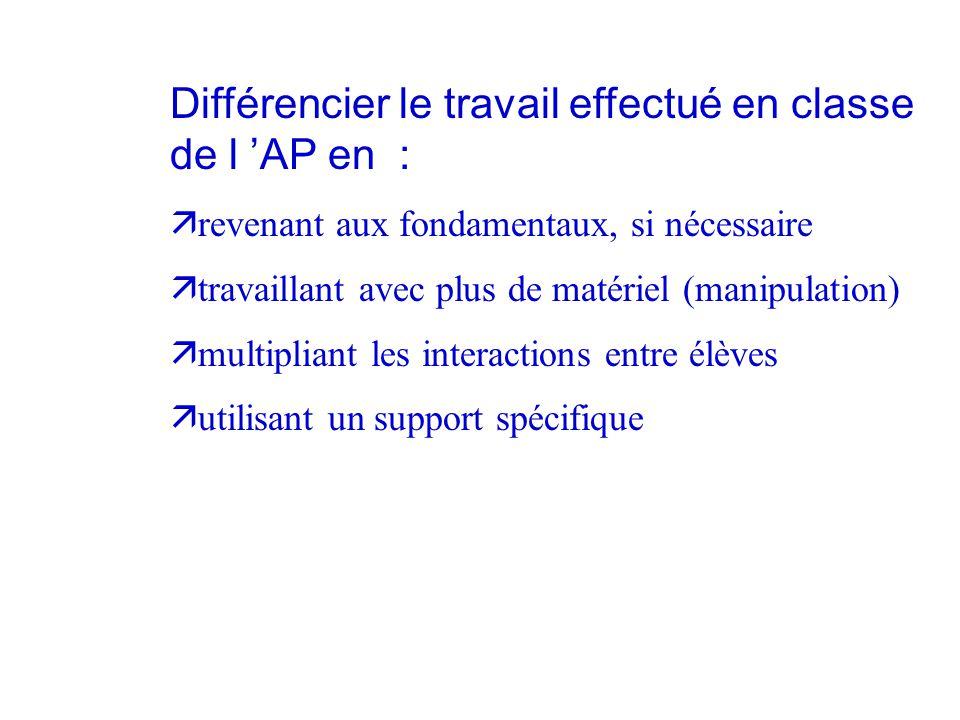 Différencier le travail effectué en classe de l 'AP en :