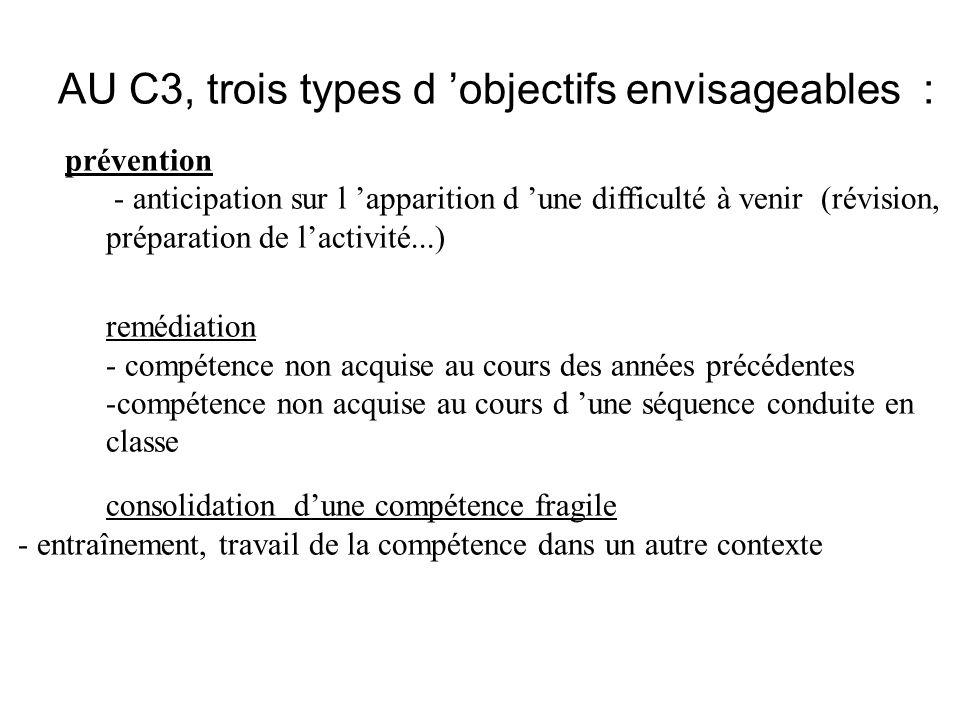AU C3, trois types d 'objectifs envisageables :