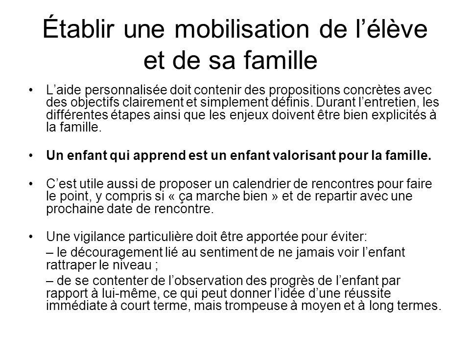 Établir une mobilisation de l'élève et de sa famille