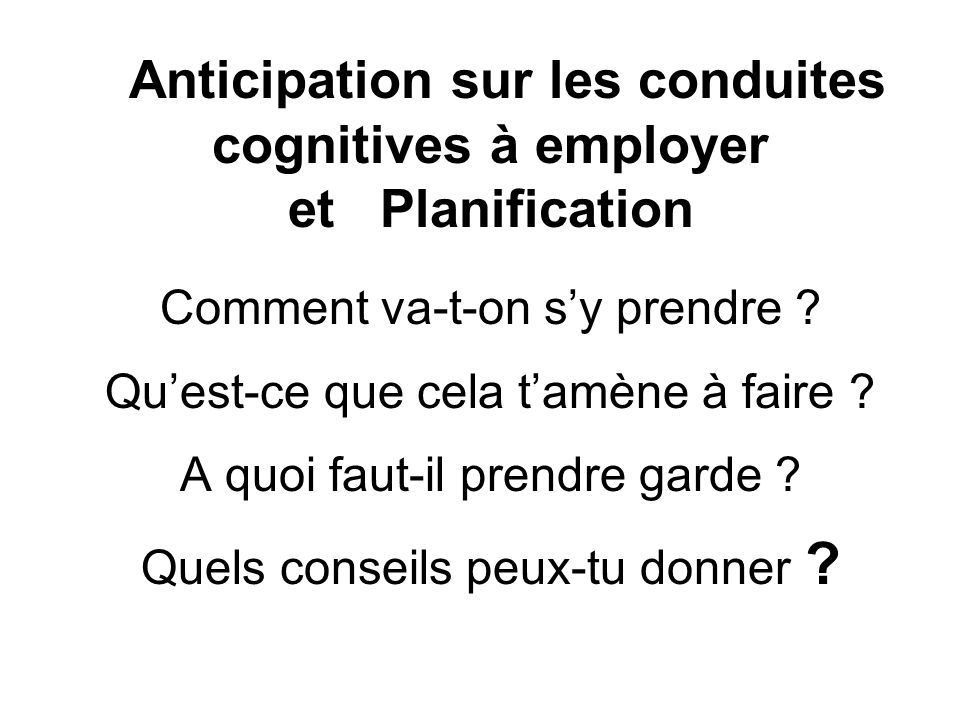 Anticipation sur les conduites cognitives à employer et Planification Comment va-t-on s'y prendre .