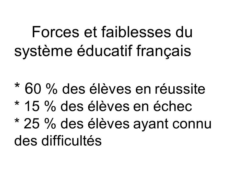 Forces et faiblesses du système éducatif français