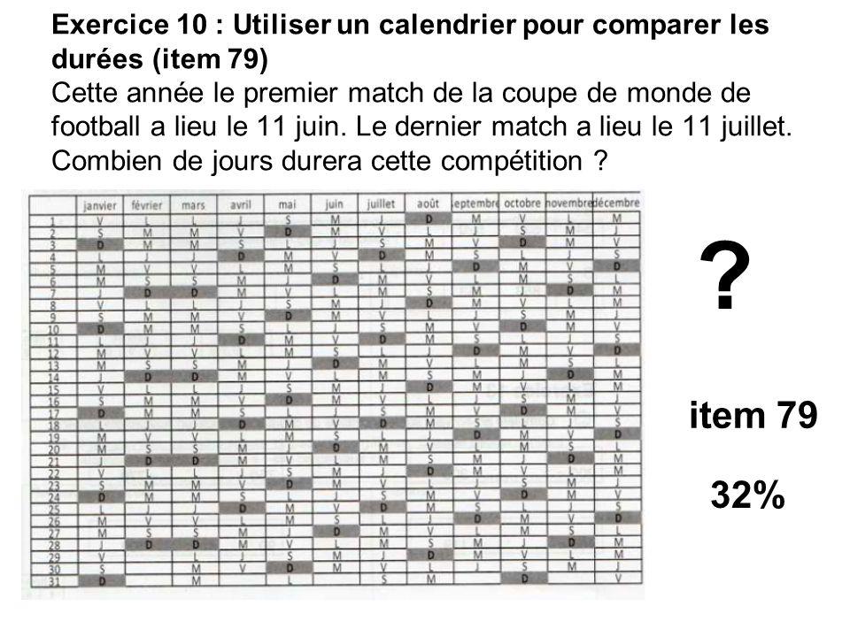 Exercice 10 : Utiliser un calendrier pour comparer les durées (item 79) Cette année le premier match de la coupe de monde de football a lieu le 11 juin. Le dernier match a lieu le 11 juillet. Combien de jours durera cette compétition