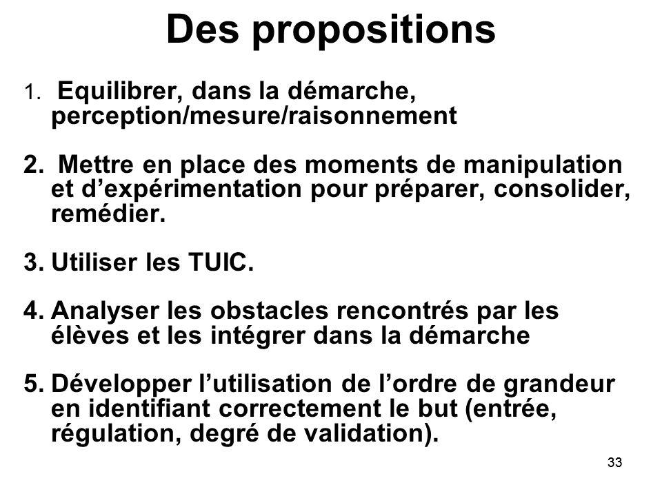 Des propositions Equilibrer, dans la démarche, perception/mesure/raisonnement.