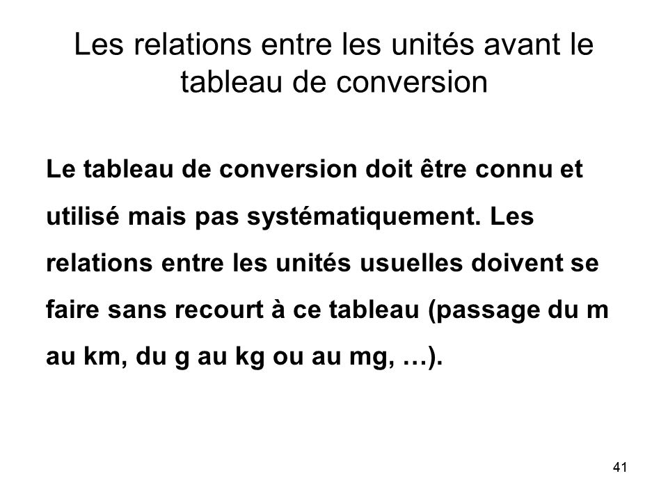 Les relations entre les unités avant le tableau de conversion