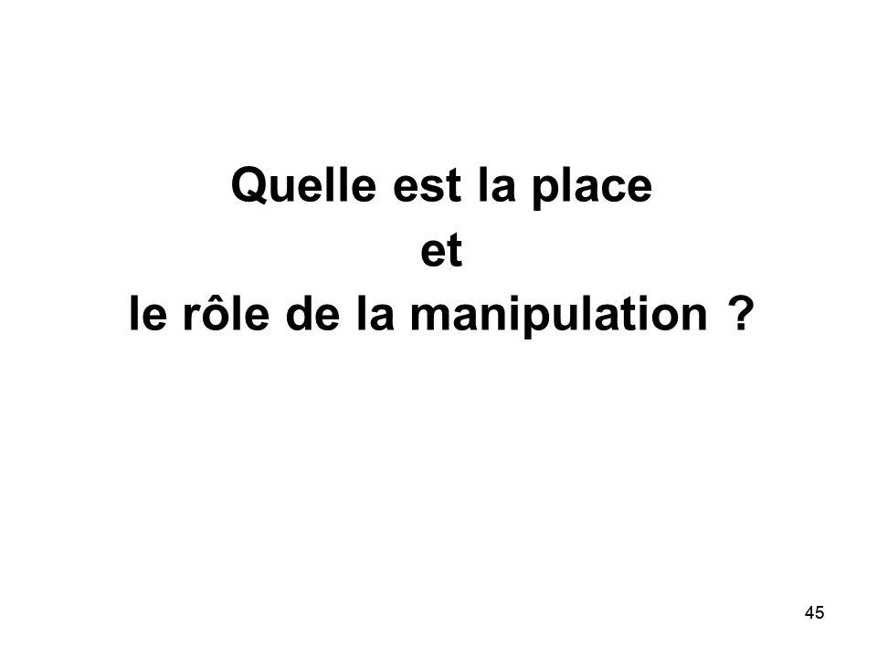 Quelle est la place et le rôle de la manipulation
