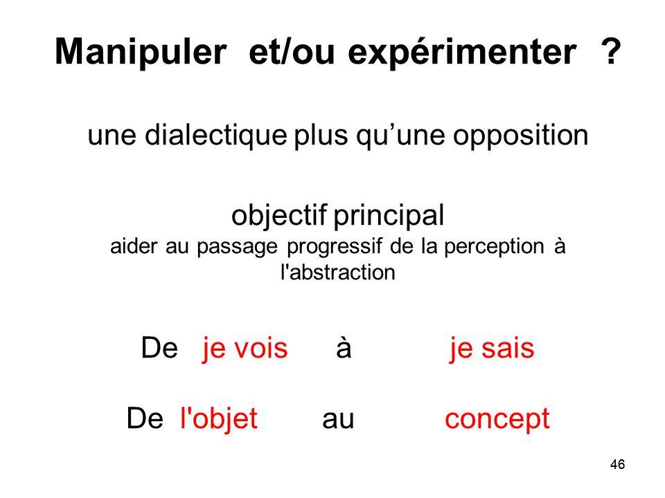 Manipuler et/ou expérimenter