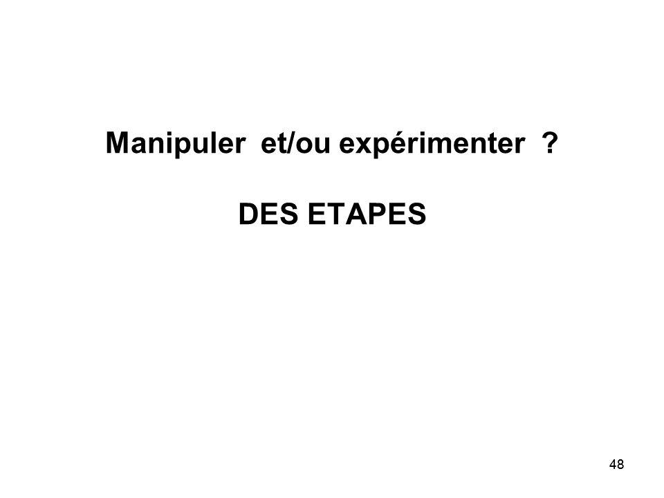 Manipuler et/ou expérimenter DES ETAPES