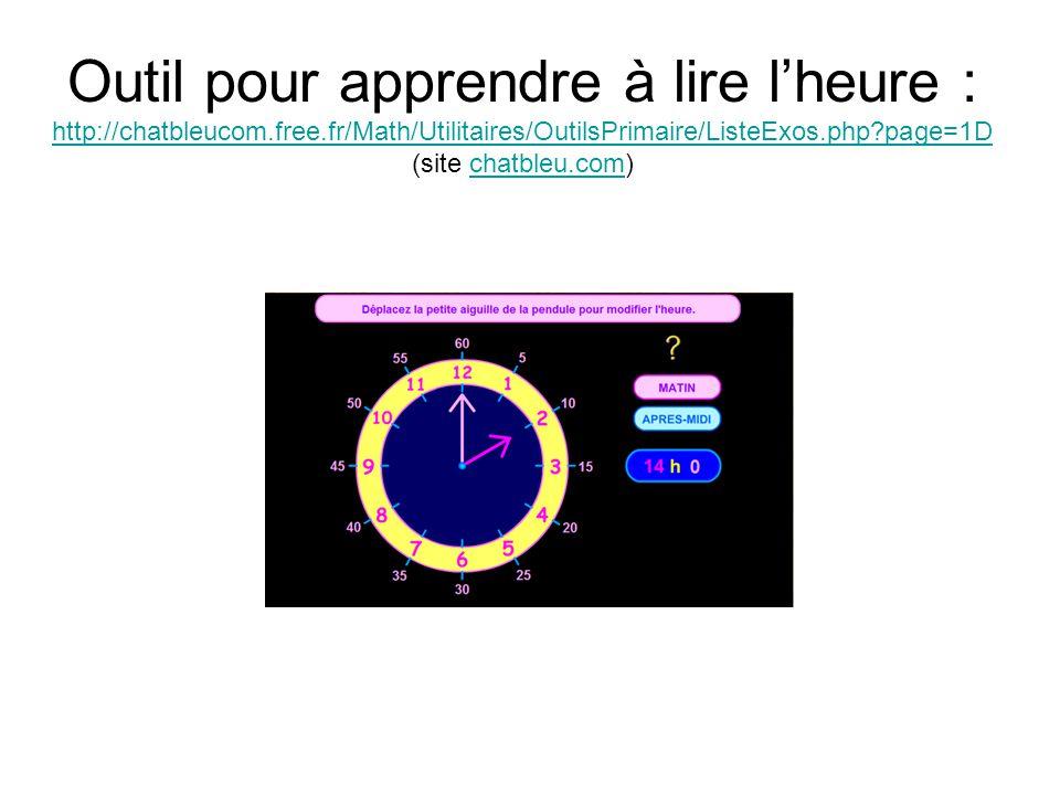 Outil pour apprendre à lire l'heure : http://chatbleucom. free