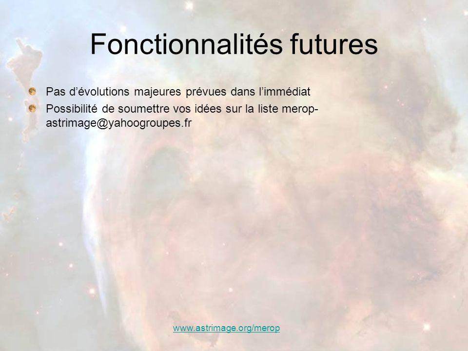 Fonctionnalités futures
