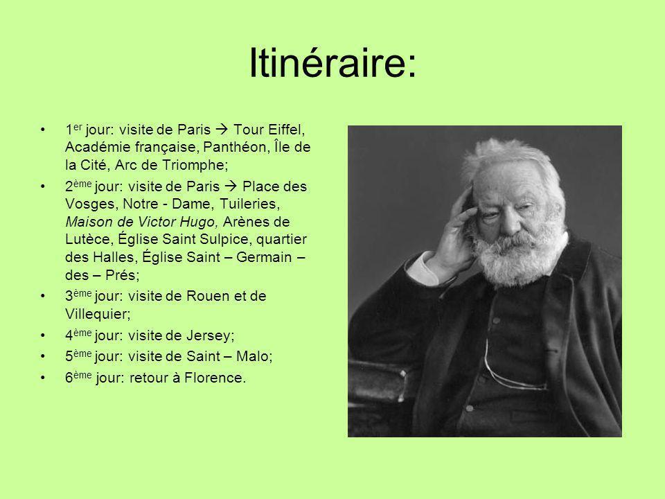 Itinéraire: 1er jour: visite de Paris  Tour Eiffel, Académie française, Panthéon, Île de la Cité, Arc de Triomphe;