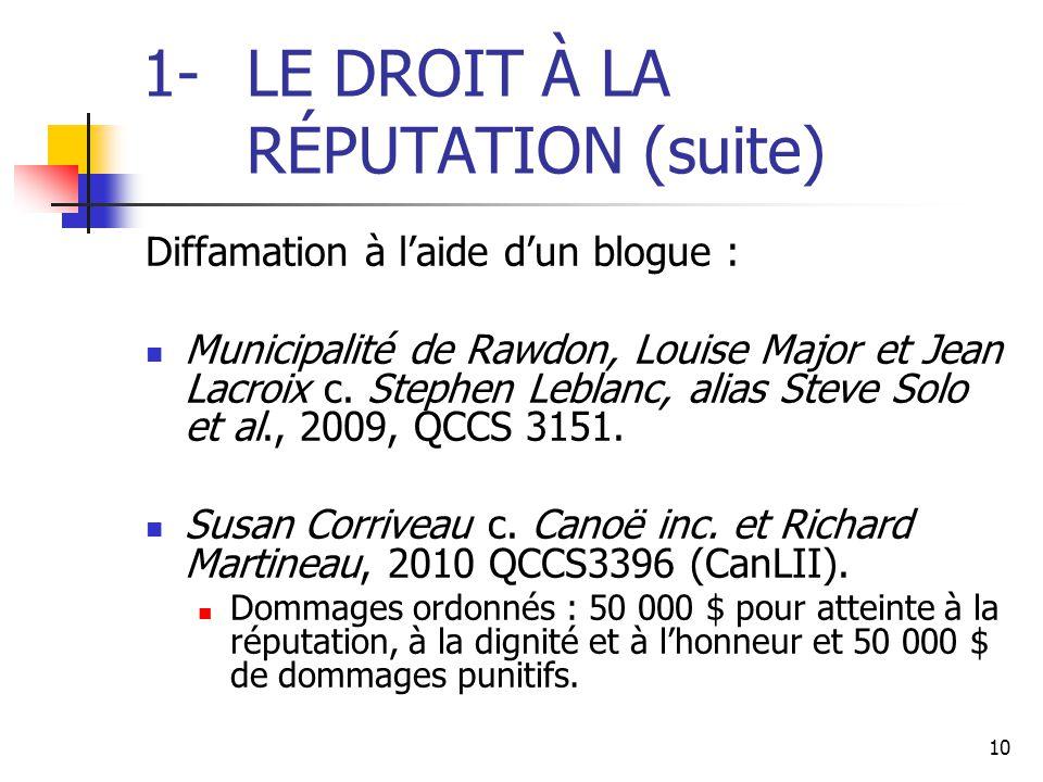 1- LE DROIT À LA RÉPUTATION (suite)
