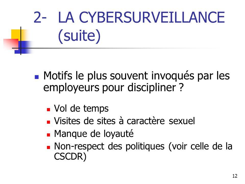 2- LA CYBERSURVEILLANCE (suite)