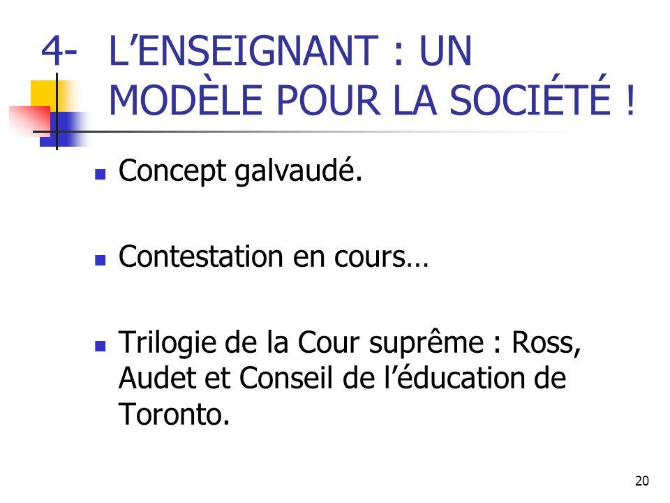 4- L'ENSEIGNANT : UN MODÈLE POUR LA SOCIÉTÉ !