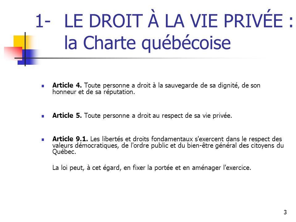 1- LE DROIT À LA VIE PRIVÉE : la Charte québécoise