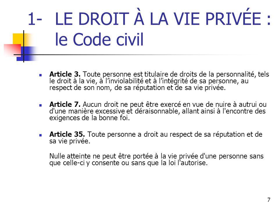 1- LE DROIT À LA VIE PRIVÉE : le Code civil