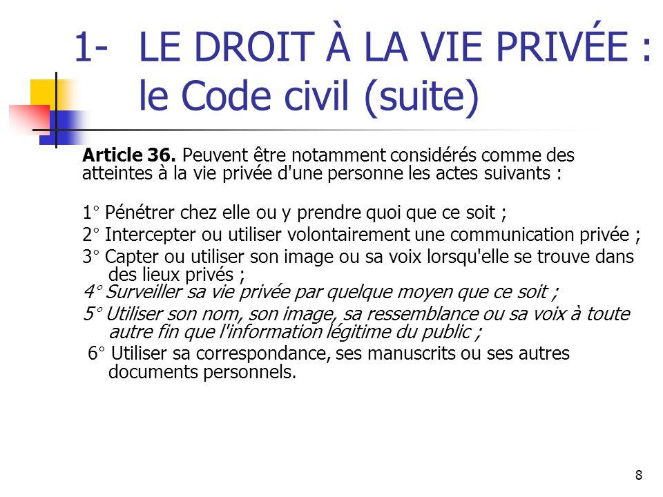 1- LE DROIT À LA VIE PRIVÉE : le Code civil (suite)