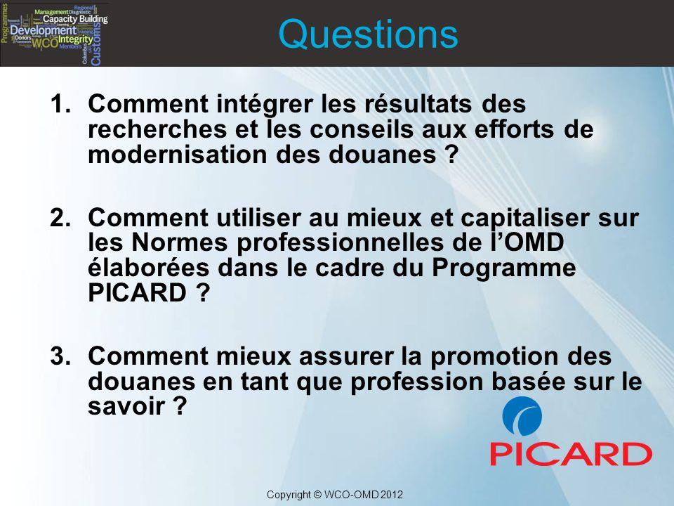 Questions Comment intégrer les résultats des recherches et les conseils aux efforts de modernisation des douanes