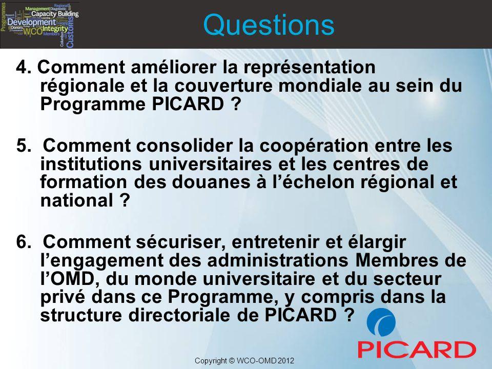 Questions 4. Comment améliorer la représentation régionale et la couverture mondiale au sein du Programme PICARD