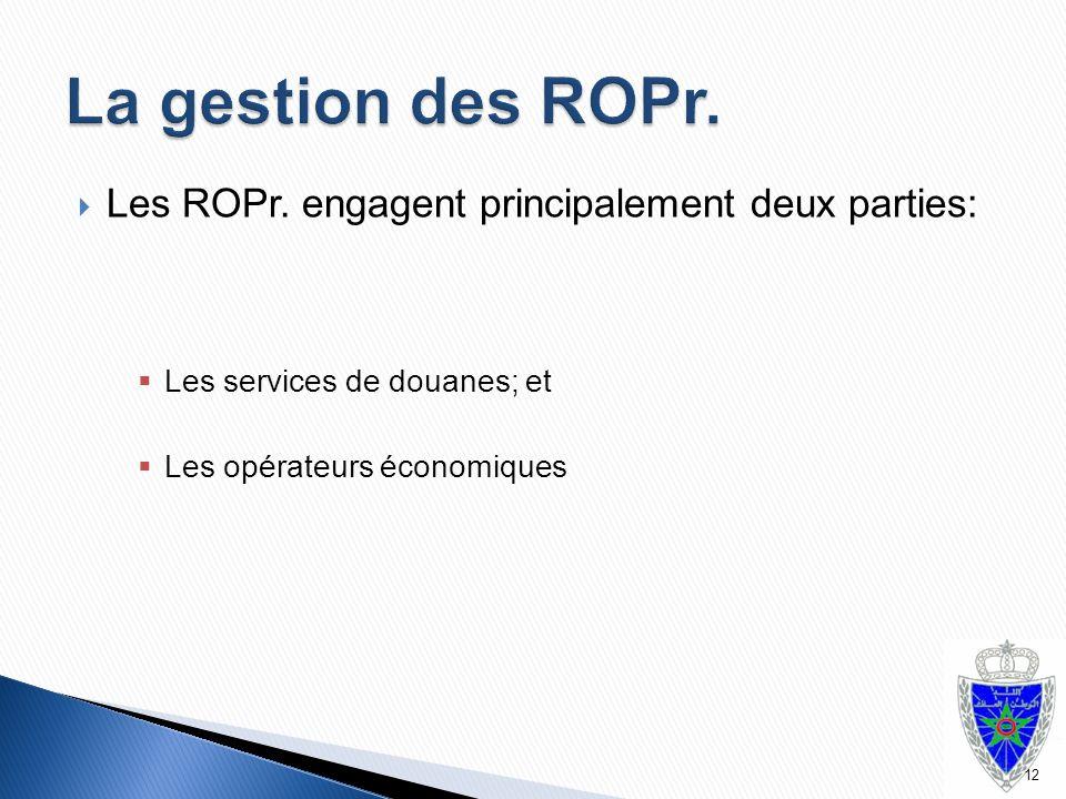 La gestion des ROPr. Les ROPr. engagent principalement deux parties: