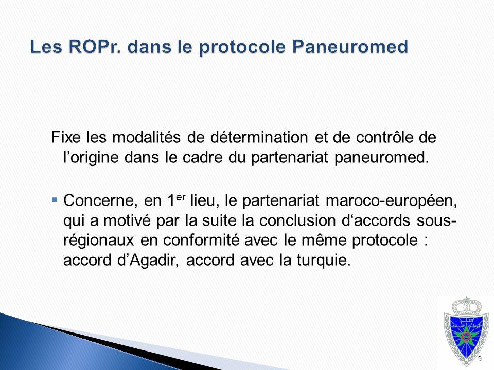 Les ROPr. dans le protocole Paneuromed