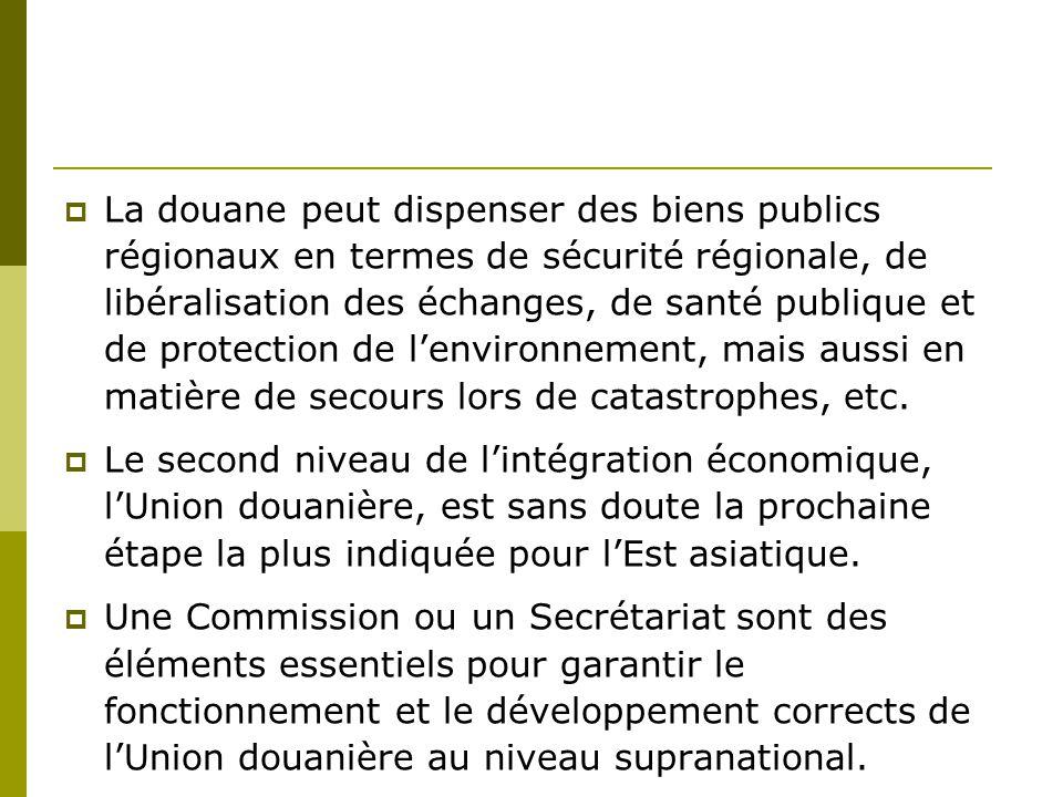 La douane peut dispenser des biens publics régionaux en termes de sécurité régionale, de libéralisation des échanges, de santé publique et de protection de l'environnement, mais aussi en matière de secours lors de catastrophes, etc.