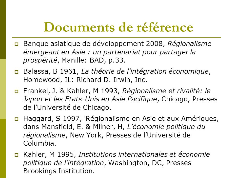 Documents de référence