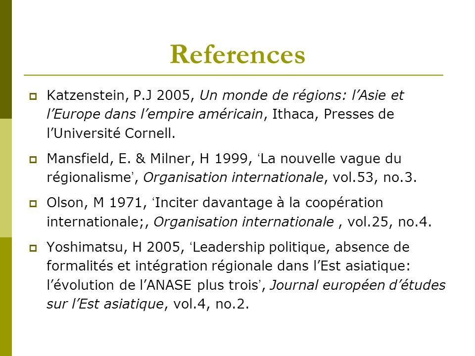 References Katzenstein, P.J 2005, Un monde de régions: l'Asie et l'Europe dans l'empire américain, Ithaca, Presses de l'Université Cornell.