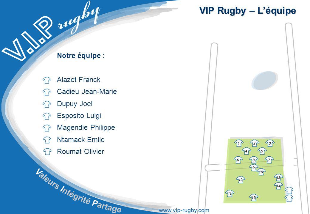 VIP Rugby – L'équipe Notre équipe : Alazet Franck Cadieu Jean-Marie