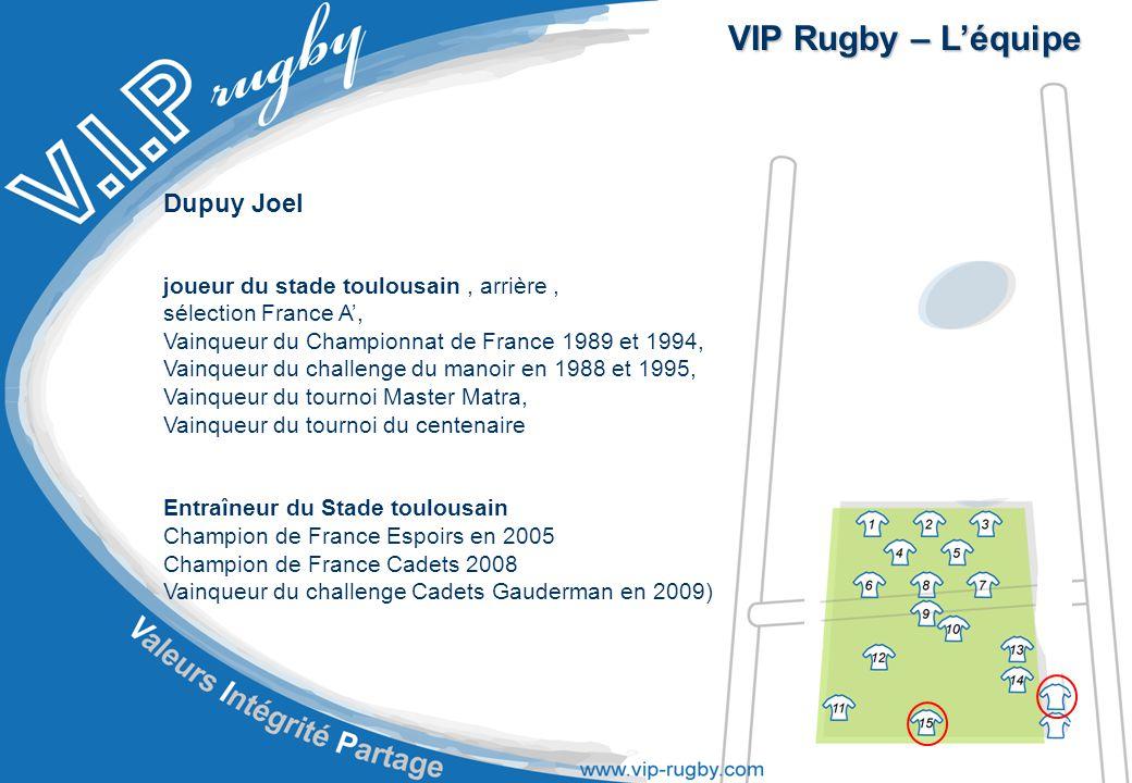VIP Rugby – L'équipe Dupuy Joel joueur du stade toulousain , arrière ,