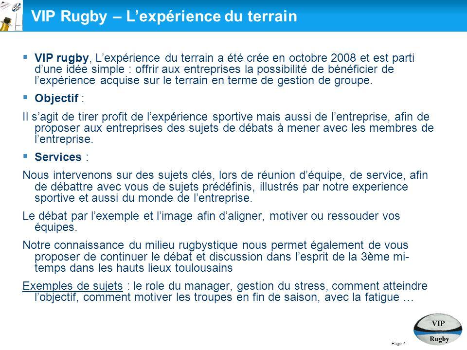 VIP Rugby – L'expérience du terrain