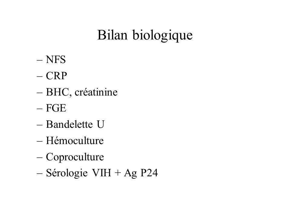 Bilan biologique NFS CRP BHC, créatinine FGE Bandelette U Hémoculture