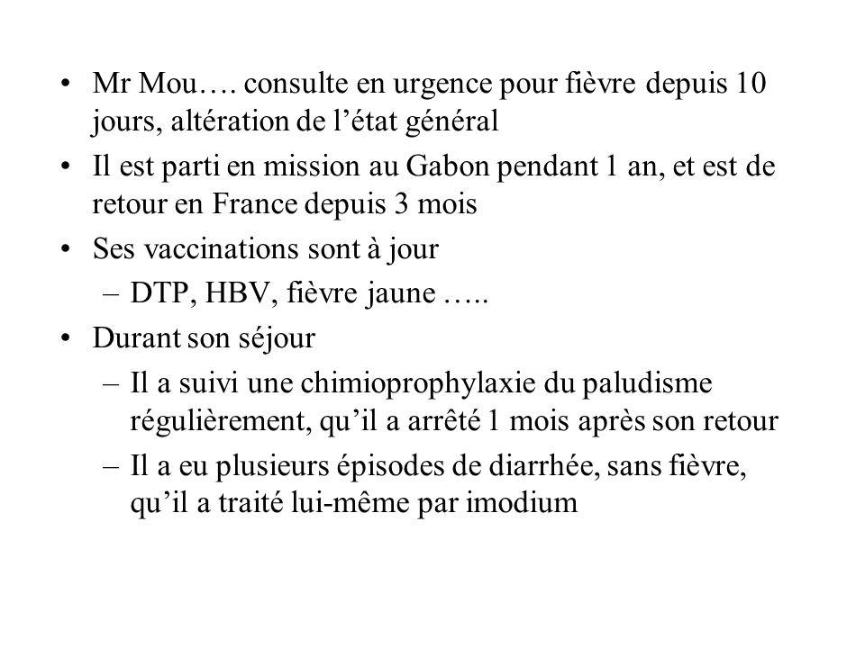Mr Mou…. consulte en urgence pour fièvre depuis 10 jours, altération de l'état général