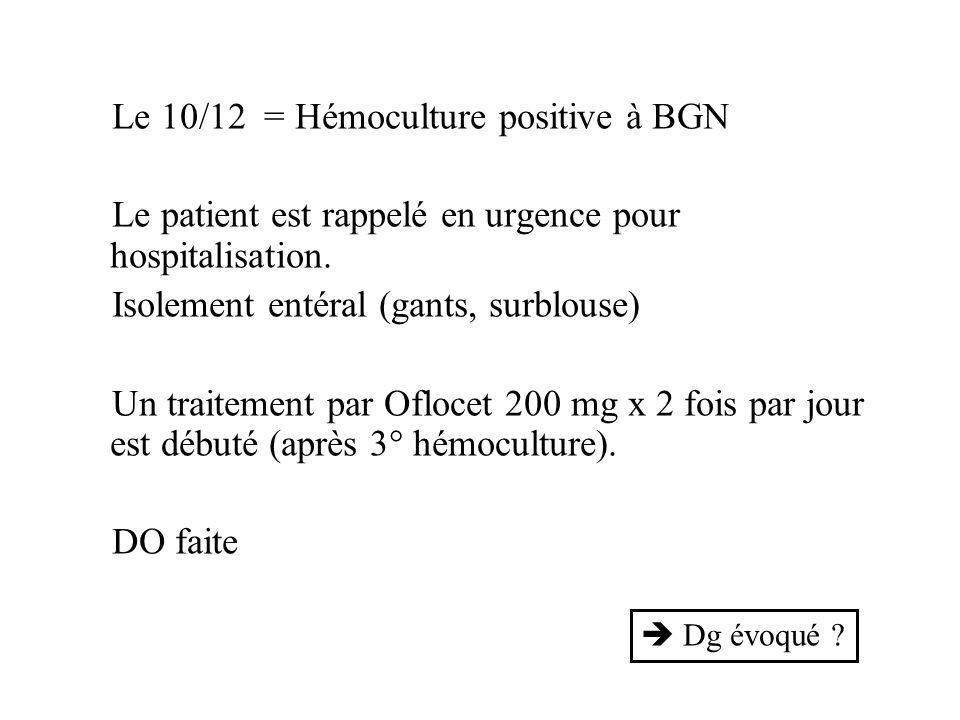 Le 10/12 = Hémoculture positive à BGN