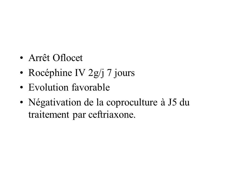 Arrêt Oflocet Rocéphine IV 2g/j 7 jours. Evolution favorable.