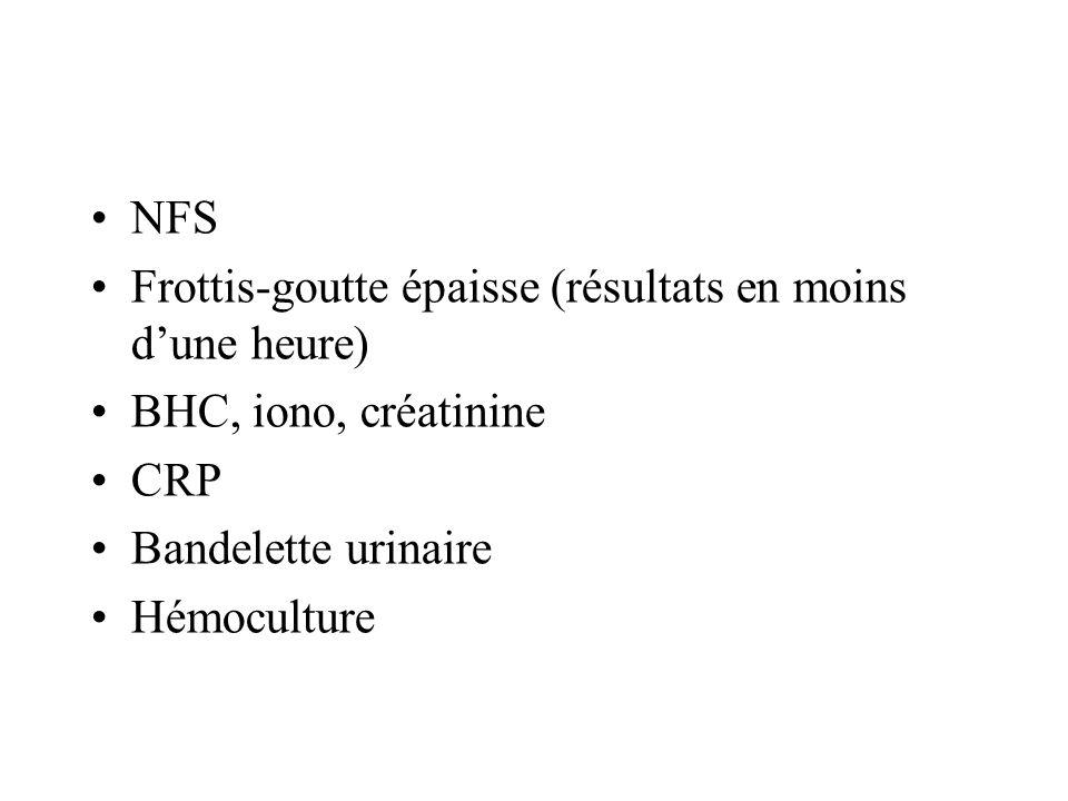 NFS Frottis-goutte épaisse (résultats en moins d'une heure) BHC, iono, créatinine. CRP. Bandelette urinaire.