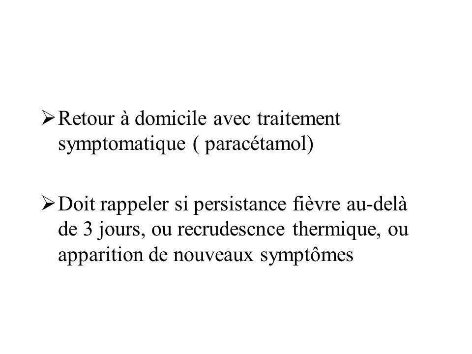 Retour à domicile avec traitement symptomatique ( paracétamol)