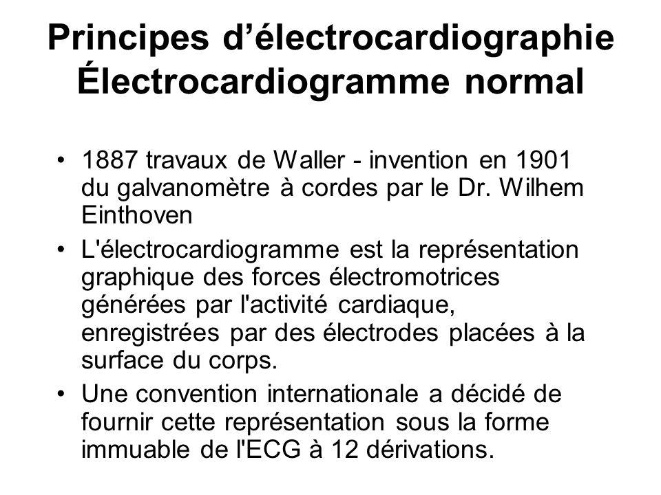 Principes d'électrocardiographie Électrocardiogramme normal
