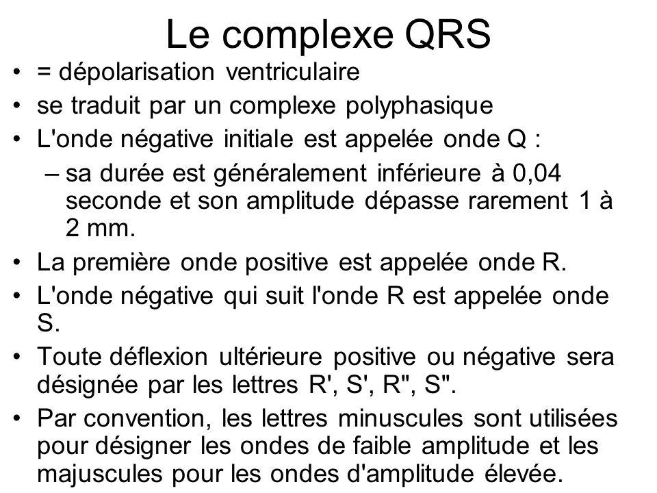 Le complexe QRS = dépolarisation ventriculaire