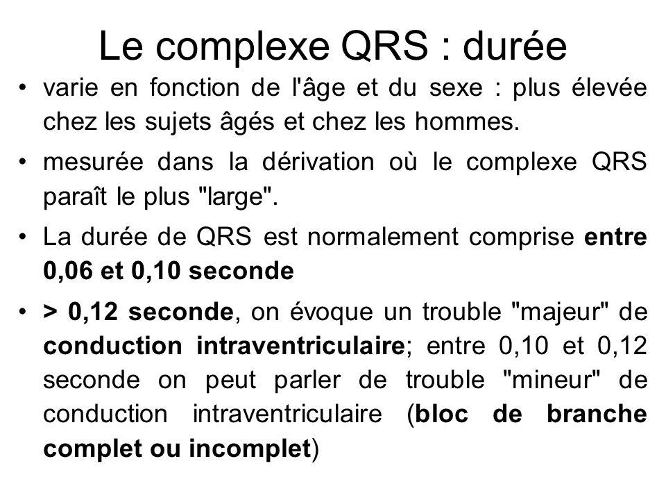 Le complexe QRS : durée varie en fonction de l âge et du sexe : plus élevée chez les sujets âgés et chez les hommes.