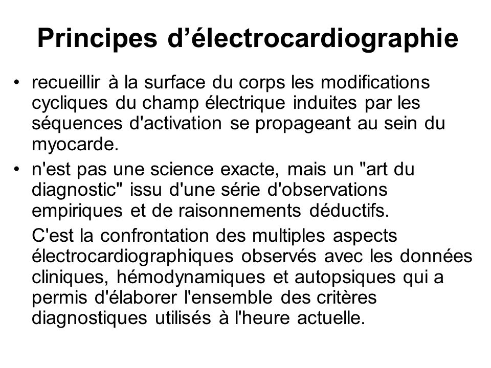 Principes d'électrocardiographie