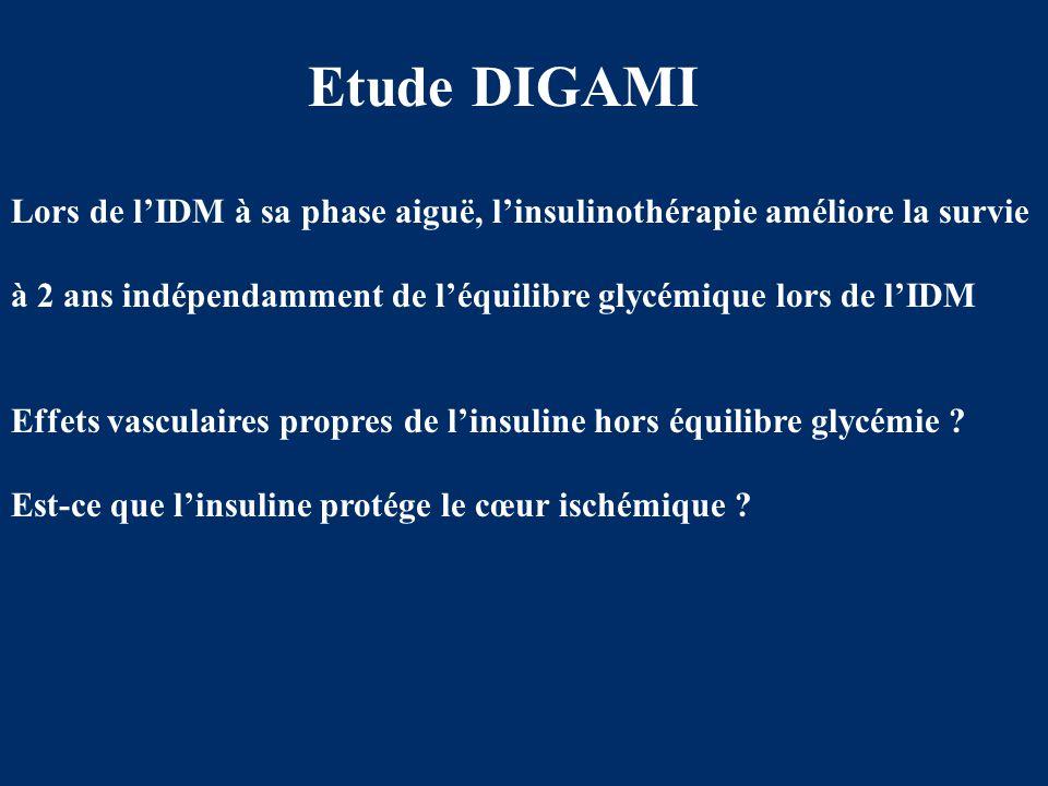 Etude DIGAMI Lors de l'IDM à sa phase aiguë, l'insulinothérapie améliore la survie. à 2 ans indépendamment de l'équilibre glycémique lors de l'IDM.